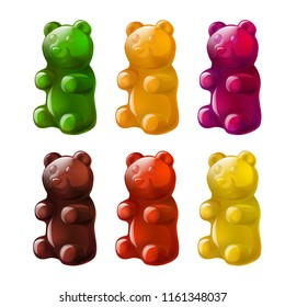 Vector volumetric  set of colorful beautiful gummy bears sweet bear candy jellyfunny bear made of jelly gummy shiny glossy gummy bear vector illustration isolated on white green candy bear shape