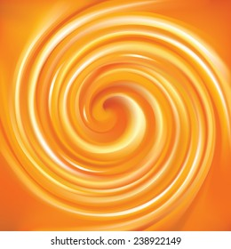 Vector vortex ripple backdrop with space for text. Beautiful curl fluid surface vivid hot terracotta color. Circle mix of pure fresh sweet carrot, apricot and lemon dessert syrup