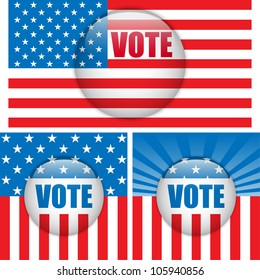 Vector - Vote Buttons. Set of three with Background