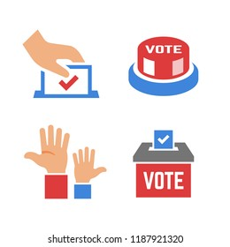 Vector vote color icon with voter hand, ballot box, click button, voting hands. Democracy election poll silhouette sign.
