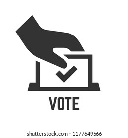 Vector vote icon with voter hand insert paper in ballot box. Democracy election poll silhouette symbol.