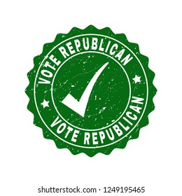 Vector Vote Republican grunge stamp seal with tick inside. Green Vote Republican mark with grunge surface. Round rubber stamp imprint.