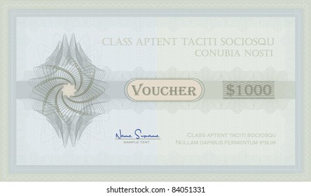vector Voucher Guilloche blue green coupon certificate template security spirograph