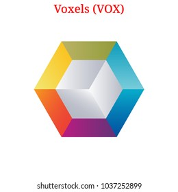 Vector Voxels (VOX) digital cryptocurrency logo. Voxels (VOX) icon. Vector illustration isolated on white background.