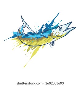 vector wahoo fish for t-shirt design