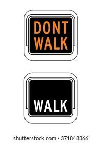 Vector Walk and Don't Walk Signage Set