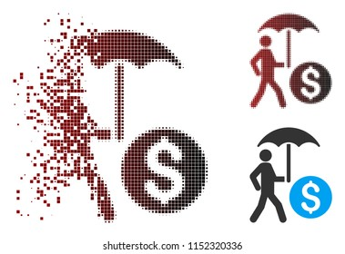 Vector walking banker with umbrella icon in sparkle, pixelated halftone and undamaged whole variants. Disintegration effect uses rectangle dots and horizontal gradient from red to black.