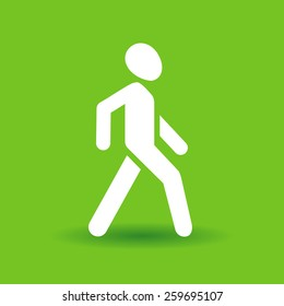 vector walking man icon white silhouette on green background with shadow