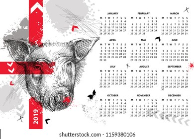 Vector wall calendar for 2019 year in Trash Polka with sketch head of pig in black. Monday start. Symbol of Chinese New Year. Design print template with pig, arrow, butterfly and red and grey blot.