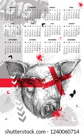 Vector wall calendar for 2019 year in Trash Polka with sketch head of pig in black. Monday start. Symbol of Chinese New Year. Design print template with pig, arrows, butterfly, cross and blot in red.
