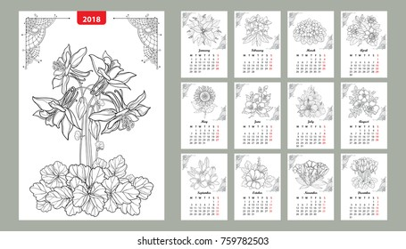 Vector wall calendar set for 2018 year with outline flowers and leaves in black. Cover with ornate Columbine flower. Week starts from Monday, English. Floral print template design in contour style.
