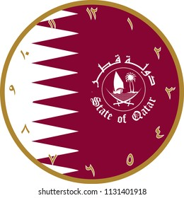 Vector Wall Clock operation. It was prepared with Qatar flag. You can print at any size. You can remove typed numbers and make a table of it. It can also be used as a gift card, badge or icon.