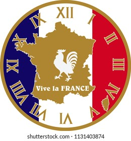 Vector Wall Clock operation. It was prepared with France flag color. You can print at any size. You can remove typed numbers and make a table of it. It can also be used as a gift card, badge or icon.