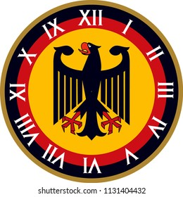 Vector Wall Clock operation. It was prepared with Germany flag color. You can print at any size. You can remove typed numbers and make a table of it. It can also be used as a gift card, badge or icon.