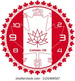 Vector Wall Clock operation. It was prepared with Canada flag. You can print at any size. You can remove typed numbers and make a table of it. It can also be used as a gift card, badge or icon.