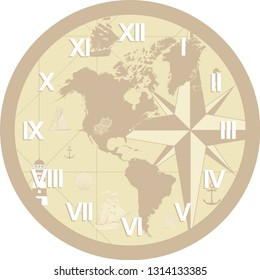 Vector Wall Clock operation. It was prepared with World map. You can print at any size. You can remove typed numbers and make a table of it. It can also be used as a gift card, badge or icon.