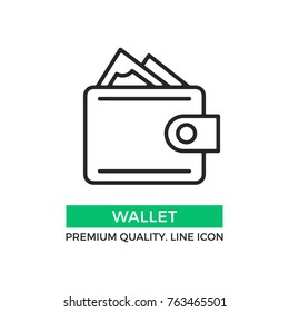 Vector wallet icon. Wallet full of dollar bills. Premium quality graphic design element. Modern sign, stroke object, linear pictogram, outline symbol, simple thin line icon