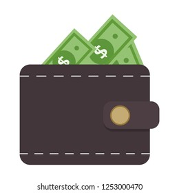 vector wallet Money Icon. illustration of wallet with money symbol. flat icon