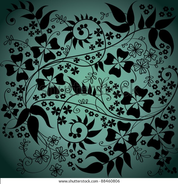 Vector Wallpaper Beautiful Abstract Black Flowers Stock Vector Royalty Free 88460806