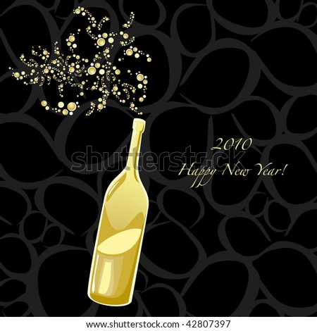 vector wallpaper dedicated to the new year with a bottle and sparkling wine