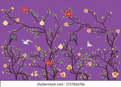vector wallpaper design with little flowers and birds for photomural