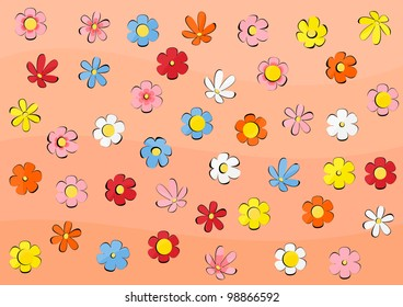 Vector wallpaper with flowers