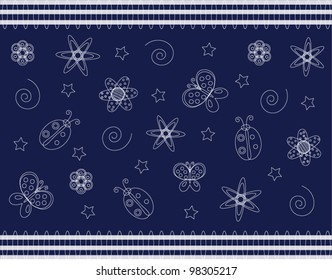 Vector wallpaper with summer symbols on blue background different uses