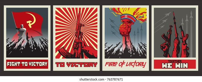 Vector War Poster Set. Stylization under the Retro War Propaganda