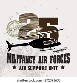Vector War Theme Background / Militancy Air Forces for ( T-shirt, Poster, Banner, backdrops design )