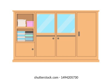 Vector of wardrobe, regular wardrobe clothes, used for interior setup, furniture. Natural wooden furniture in flat style.