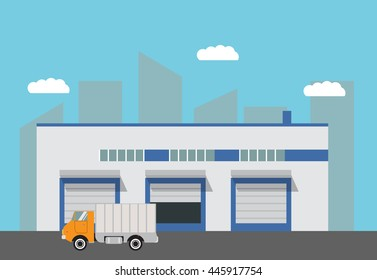 Vector warehouse building flat trucks and the road.design elements for infographic,engineering and warehouse firms, companies on cargo delivery. For booklets,leaflets,banners on the websites