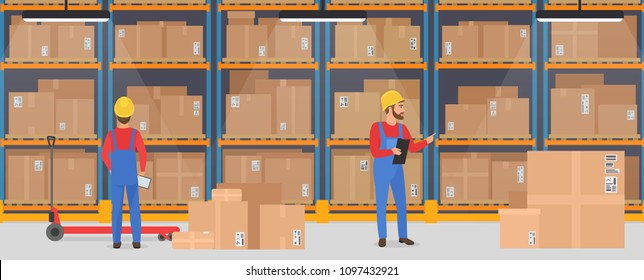 Vector warehouse Interior with working people. Logistic Delivery Cargo service banner concept.
