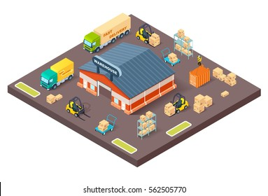 Vector warehouse and loading process. Isometric illustration of warehouse building,loading trucks, forklifts. Logistic,delivery and transportation industry concept