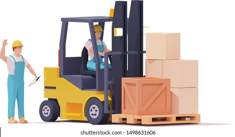 Vector warehouse worker and forklift driver, yellow forklift loaded with pallet with goods in boxes