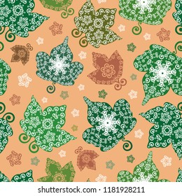 Vector warm orange and green fall leaves seamless pattern background in ornamental folk art style. Perfect for fabric, scrapbooking, giftwrap, wall paper projects, stationary, thanksgiving