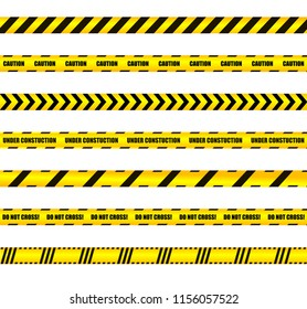 Vector Warn Ribbons Set, Yellow and Black Colored Design Elements, Warning, Caution Signs on White Background.