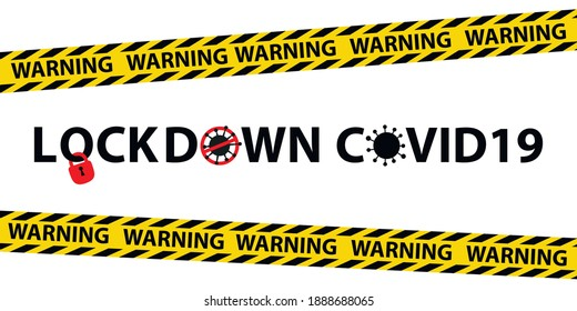 vector warning banner for covid 19 lockdown, warning banner for quarantine due to covid 19 pandemic