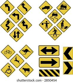 Vector warning road signs