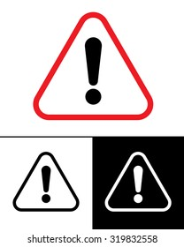 Vector Warning Symbol Set in Colour, Black and Reverse