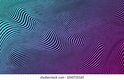 Vector warped lines colorful background. Modern abstract creative backdrop with multicolor variable width stripes. Twisted stripes optical illusion. Moire waves.