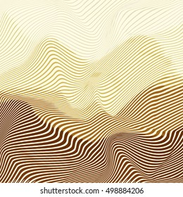 Vector warped lines colorful background. Modern abstract creative backdrop with colorful variable width stripes. Twisted stripes optical illusion.