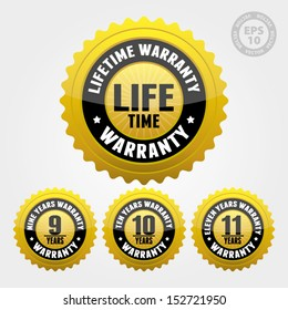 Vector : Warranty Badge and Sign with lifetime, nine, ten, eleven years warranty - banner, sticker, tag, icon, stamp, label