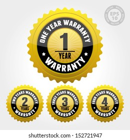 Vector : Warranty Badge and Sign with one, two, three, four years warranty - banner, sticker, tag, icon, stamp, label