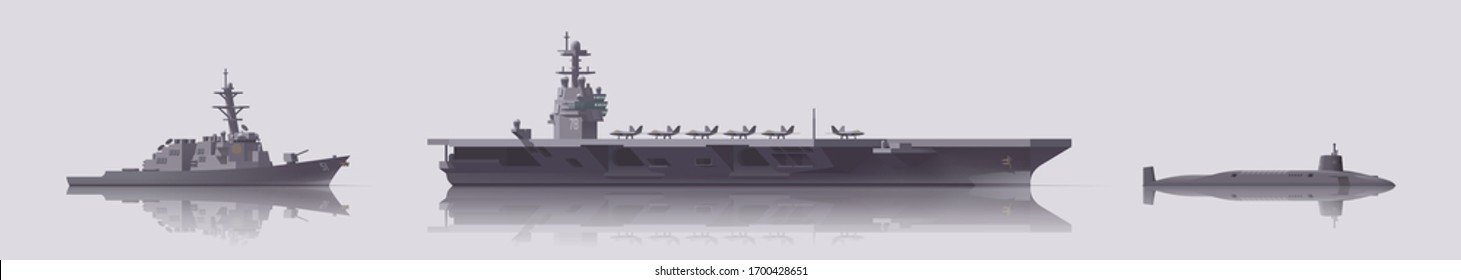 Vector warship set. Aircraft carrier destroyer and submarine. Isolated illustration. Collection