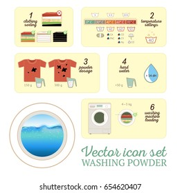 Vector washing powder flat icon set with realistic water layer illustration. Suitable for washing powder box or as washing machine instruction.