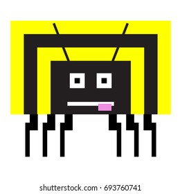 Vector wasp are made of squares and rectangles