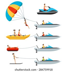 Vector water activity items with people: water scooter, banana, donut, ski, parachute, motor boat. Isolated on white background. Flat design style.