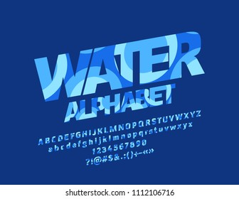 Vector Water Alphabet. Graphic Style Font. Blue Letters, Numbers and Symbols