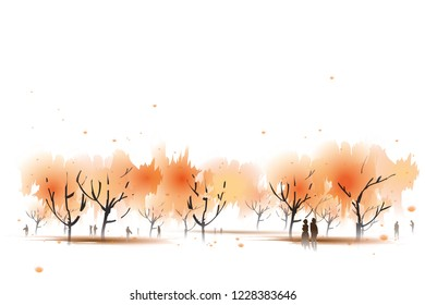 vector water colour on outdoor background