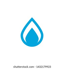 Vector water drop. Blue liquid drop symbol isolated on a white background. Water spill shape. Abstract drop icon in blue color.